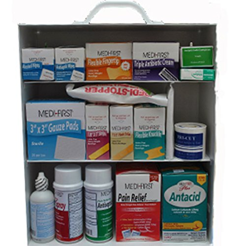 Medique 745M1, 3-Shelf Industrial First Aid Cabinet, Filled