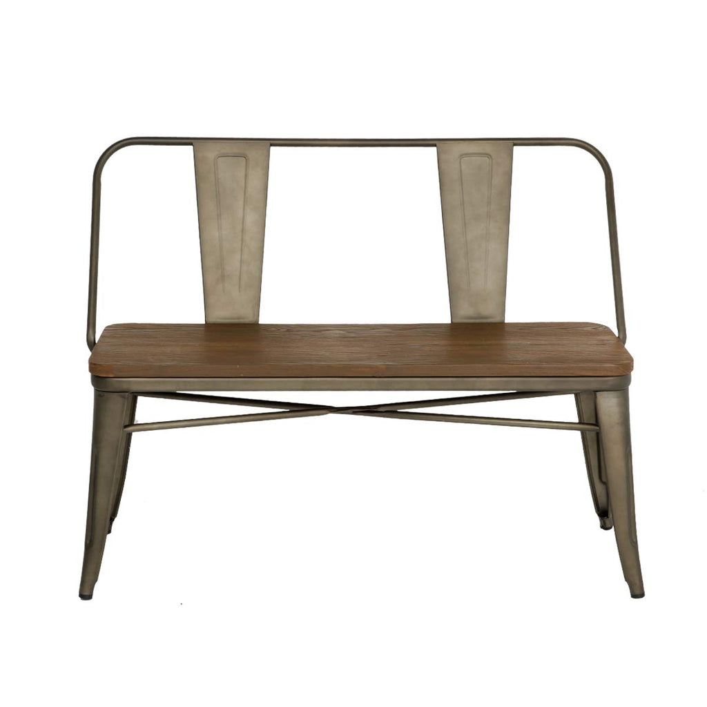 Picture of: Erommy Metal Bench Industrial Mid Century 2 Person Chair With Wood Sea Wufair