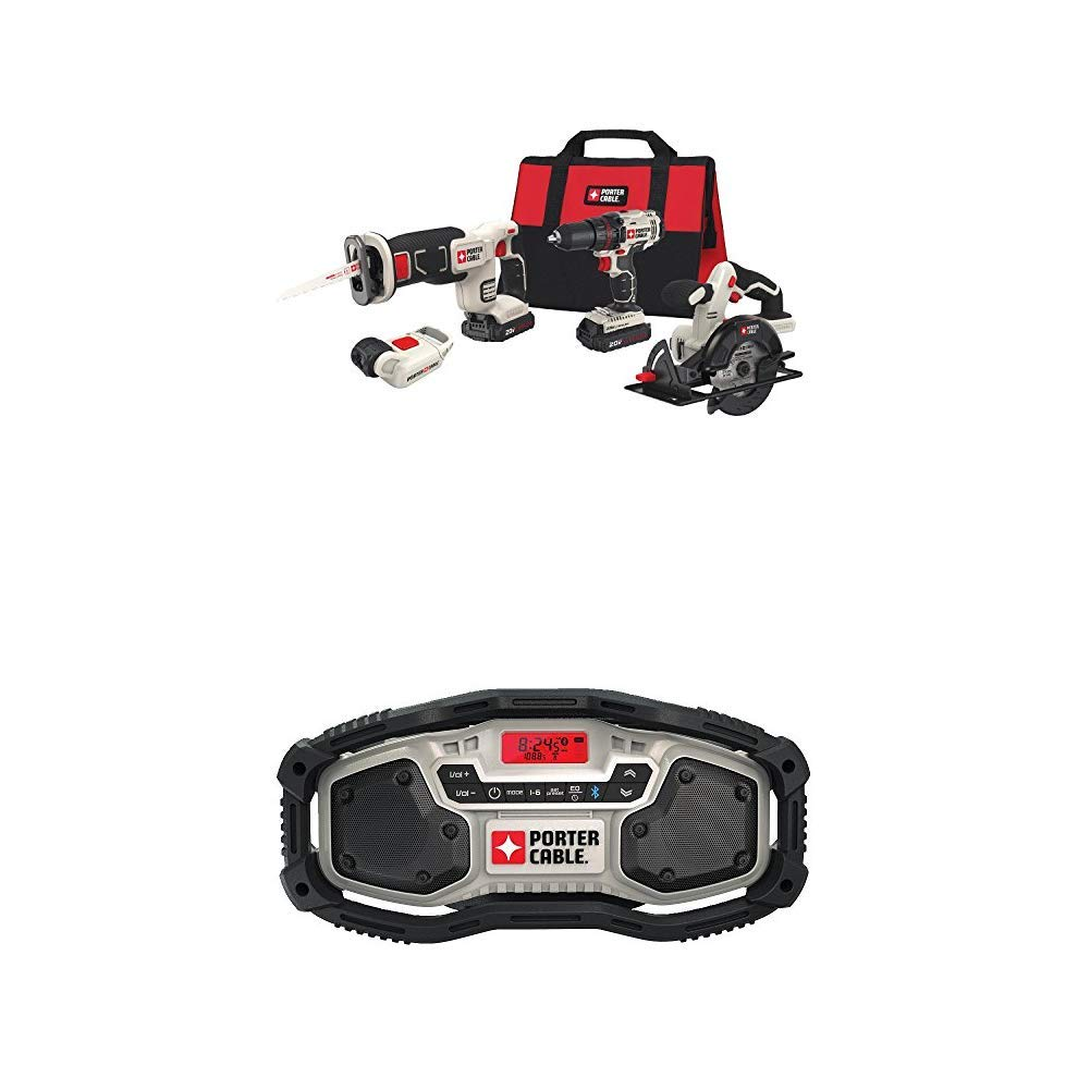 PORTER-CABLE PCCCK616L4  20V MAX 4-Tool Combo Kit with PORTER-CABLE PCC771B Bluetooth Radio