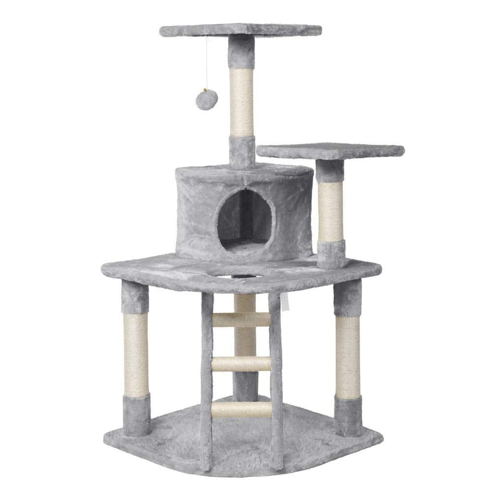 "Yaheetech 48"" Cat Tree Tower with Spacious Condo, Cozy Platform and Replaceable Dangling Ball(Light Gray)"