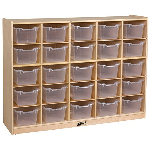 ECR4Kids Birch 25 Cubbie Tray Cabinet with Scoop Front Bins, Clear