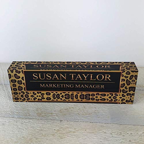 "Artblox Office Desk Name Plate Personalized | Custom Name Plates for Desks on Acrylic Glass Decor | Office Desk Decor Nameplate | Desk Accessories | Black Leopard Design - (8""x2.5"")"