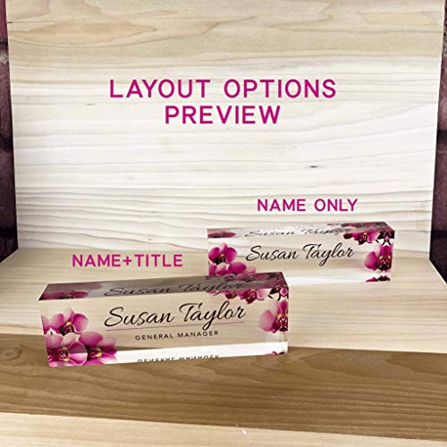 "Artblox Office Desk Name Plate Personalized - Printed on Premium Clear Acrylic Glass Block Unique Designer Name Plates for Desks Accessories - (8""x2.5"") - Orchids"