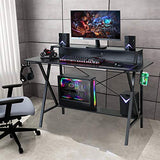 "Sedeta Gaming Desk, 47"" Gaming Table, E-Sports Computer Desk, Gaming Workstation Desk, PC Stand Shelf Power Strip with USB Cup Holder & Headphone Hook Home Office Desk Gamer Desk Writing Table, Black"