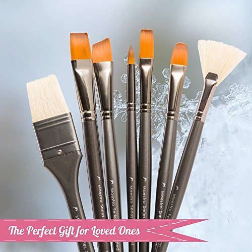 Artist Paint Brush Set Professional 15pc Best Art Supplies Paintbrushes for Acrylic Watercolor Oil Gouache Paint with Free Carrying Case