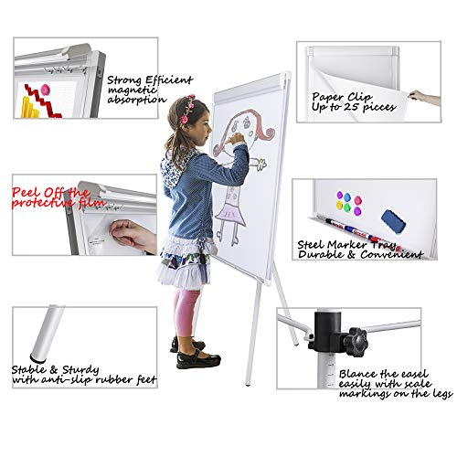 White Board Easel Stand Magnetic Whiteboard Flipchart Tripod Easel Height Adjustable Dry Erase Board with 1 Eraser, 3 Markers, 6 Magnets, 24x36 inches, White
