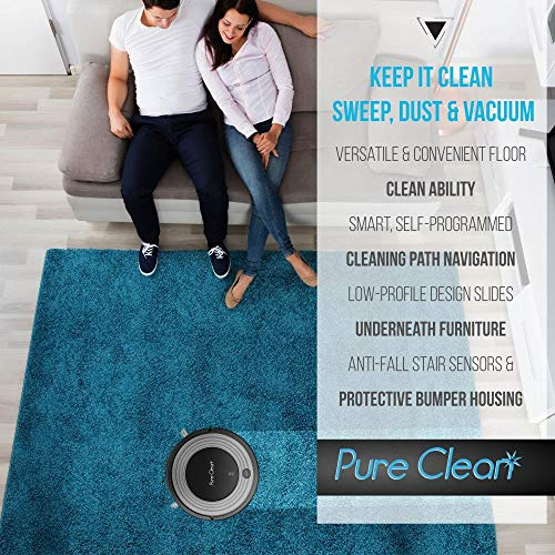 Automatic Programmable Robot Vacuum Cleaner - Robotic Auto Home Cleaning for Clean Carpet Hardwood Floor w/ Self Activation and Charge Dock -  Pet Hair & Allergies Friendly - Pure Clean PUCRC96B