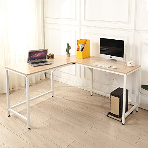 Soges 59 x 59 inches Large L-Shaped Desk Computer Desk Corner Desk Office Desk Computer Table, White Oak CS-ZJ02-MO