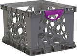 Storex Recycled Filing Crate with Comfort Handles, 17.25 x 14.25 x 10.5 Inches, Purple, Case of 3 (STX61792U03C)