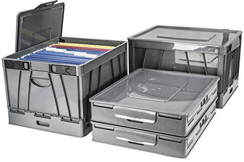 Storex Collapsible Crate with Lid, 17.25 x 14.25 x 10.5 Inches, Gray, Case of 4 (STX61810U04C)