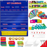 "Calendar and Weather Pocket Chart with 108 Illustrated Activity Cards, 40 Dry Erasable Flash Cards and 3 Hooks (28"" X 35.5"")"