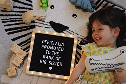 Black Felt Letter Board with Stand, Built-in LED Lights (10 x 10) - Menu Board, Wood Frame, 340 Letters and Emojis - for Custom Sign Messages, Menus, Pregnancy Announcement, Weddings, Party Planning