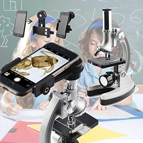 300x 600x 1200x Magnifications Microscope Kit-Metal Arm and Base for Kids Student Beginners Educational Soldering Compound Monocular Biological Microscopes-with 70PCS+ Accessory Set (Silver)