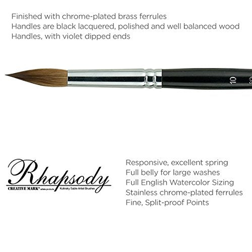 Creative Mark Rhapsody Kolinsky Sable Artist Watercolor Paint Brush - for Professional Watercolorists, Gouaches, Inks, Fluid Medias - [Round 7]
