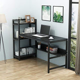 Tribesigns Computer Desk with 4-Tier Storage Shelves, 60 inch Modern Large Office Desk Computer Table Studying Writing Desk Workstation with Bookshelf and Tower Shelf for Home Office (Black)