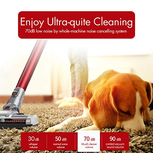 Stick Vacuum Cordless, Muzili 3-in-1 Cordless Carpet Floor Sweeper Vacuum with LED Motorized Brush, 130W Rechargeable Lightweight Portable Vacuum Cleaner for Pet Hairs, Home, Stairs, Car