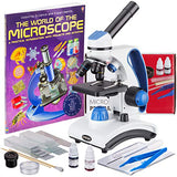 AmScope Awarded 2017 Best Student Microscope 40X-1000X Dual Light Glass Lens Metal-Body Student Microscope with Slides, Tools and Book