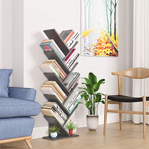 Homfa Tree Bookshelf BookRack, 9-Shelf Bookcase, Artistic Book Organizer, Space-Saving CDs Albums Books Holder in Living Room Office, Grey