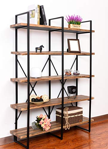 IRONCK Bookshelf, Double Wide 5-Tier Open Bookcase Vintage Industrial Large Shelves, Wood and Metal Etagere Bookshelves, for Home Decor Display, Office Furniture
