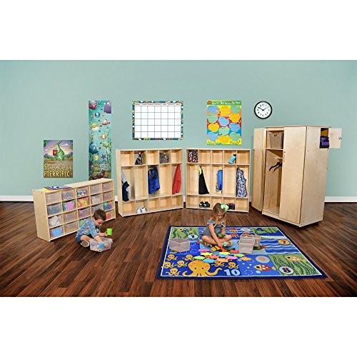 Sprogs Wooden Five-Section Locker Unit without Seat - Unassembled, SPG-4155