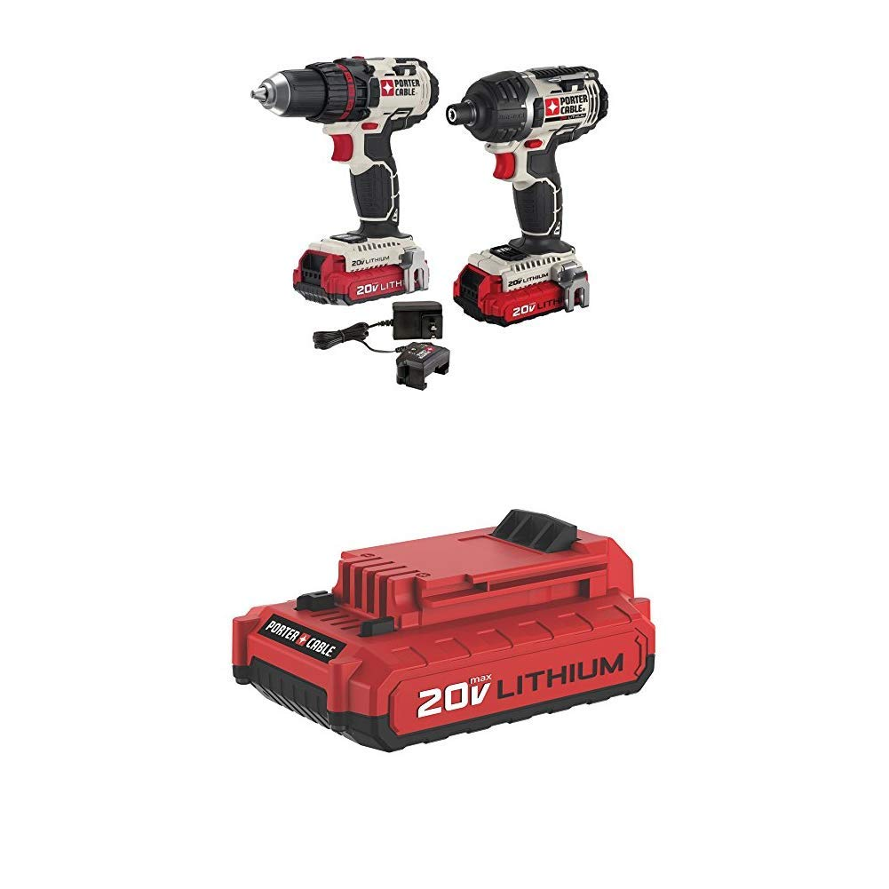PORTER-CABLE PCCK602L2 20V MAX Lithium 2 Tool Combo Kit with PCC682L 20V MAX 2.0 Amp Hour Battery
