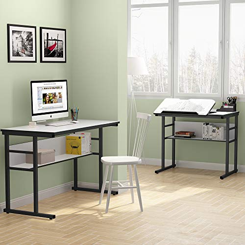 Tribesigns Modern L-Shaped Desk with Bookshelf, 67 inch Double Corner Computer Office Desk Workstation Drafting Drawing Table with Tiltable Tabletop for Home Office (White)