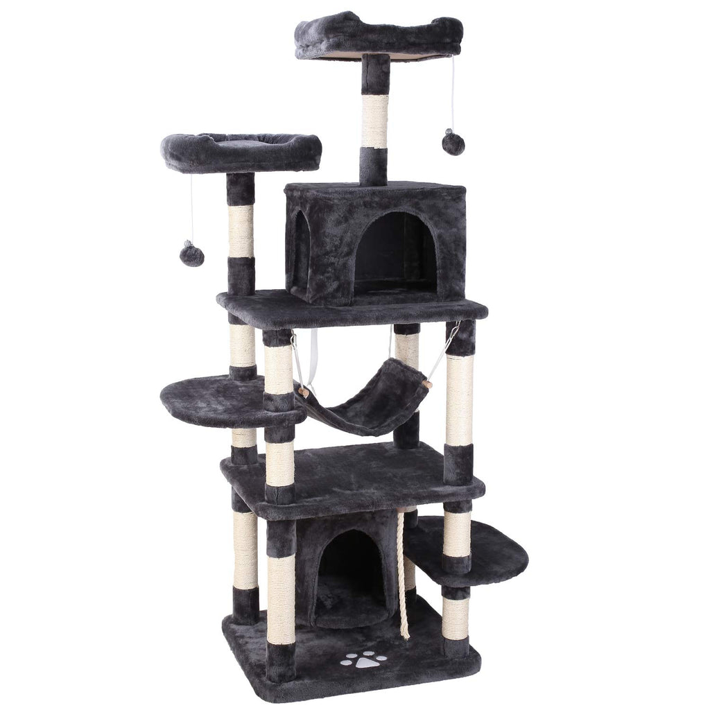 "POTBY 67"" Multi-Level Cat Tree Play House Climber Activity Centre Tower Stand Furniture, with Scratching Posts, Hammock, Dangling Ball and Condo, Anti-toppling Devices, Suit for Kittens, Cats and Pet"