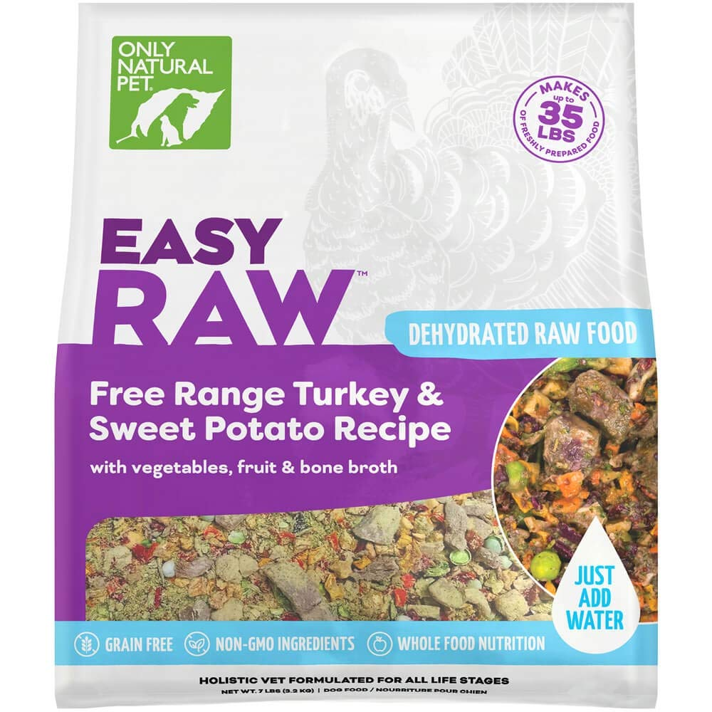Only Natural Pet EasyRaw Human Grade Dehydrated Raw Dog Food Formula That Contains Real Wholesome Nutrition, Low Glycemic, Non-GMO - Turkey & Sweet Potato Flavor - 7 lb Bag (Makes 40 lbs)
