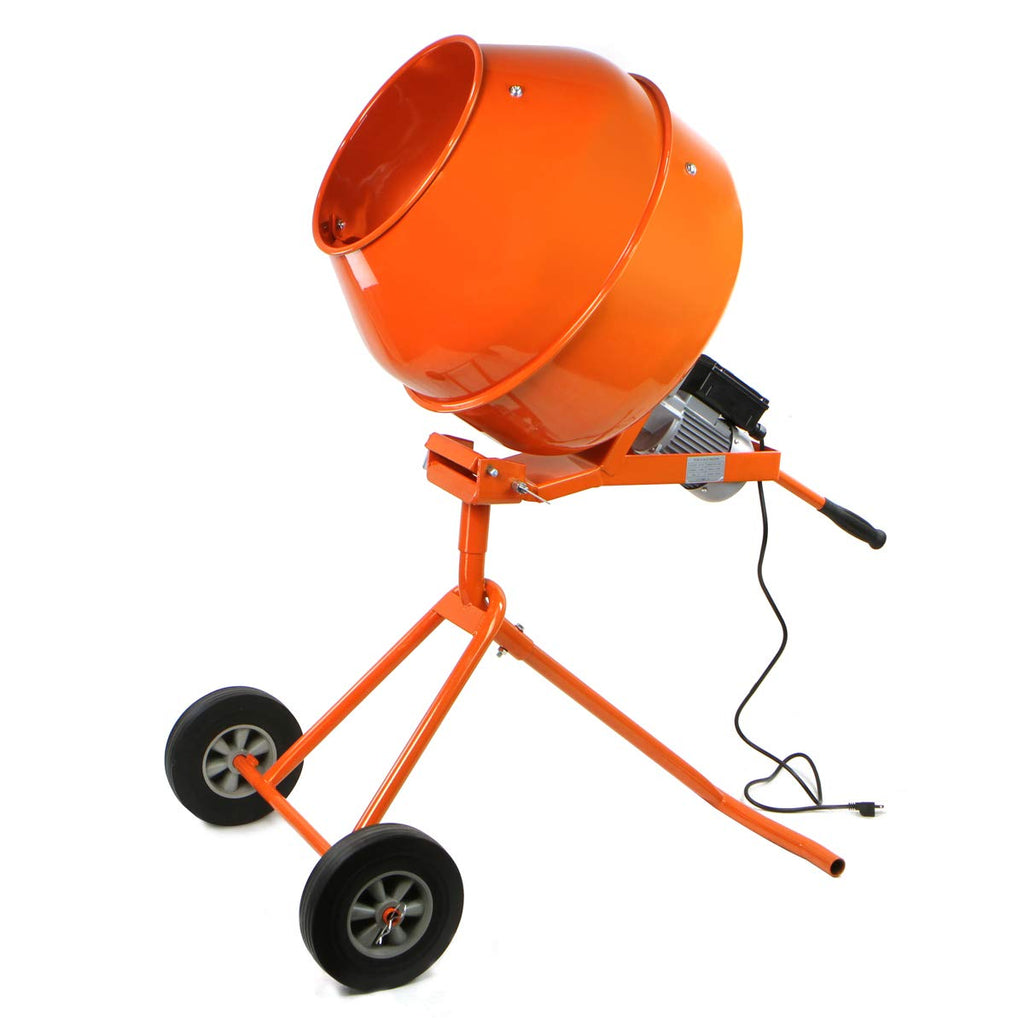XtremepowerUS 5 Cubic Feet Tall Portable Cement Concrete Mixer Handle Adjustable Drive Gearbox with Wheel