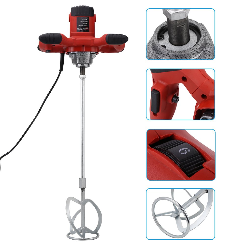 Concrete Mixer, 1pc Red 1500W Hand-held 6-speed Electric Cement mixer for Stirring Mortar Paint Cement Grout AC 110V