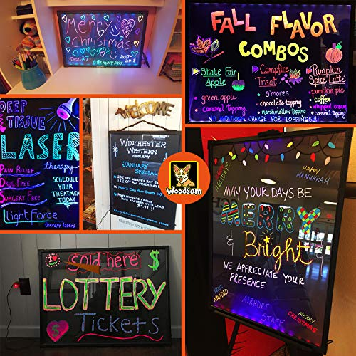 "Woodsam LED Message Writing Board - 32""x24"" Flashing Illuminated Erasable Neon Sign With 8 Fluorescent Chalk Markers - Perfect For Shop/Cafe/Bar/Menu/Wedding/Decoration/Promotion/School"