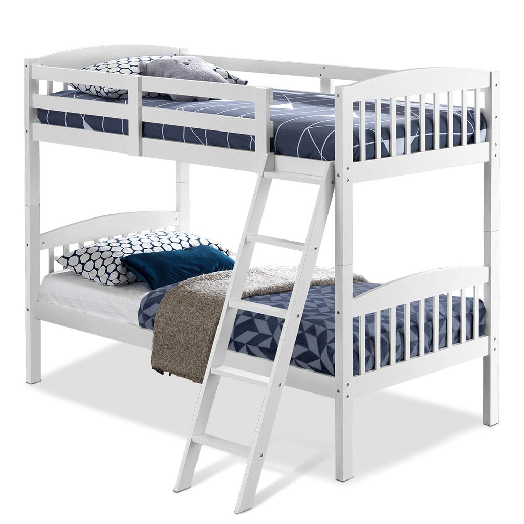 Image of: Costzon Twin Over Twin Bunk Beds Convertible Into Two Individual Soli Wufair