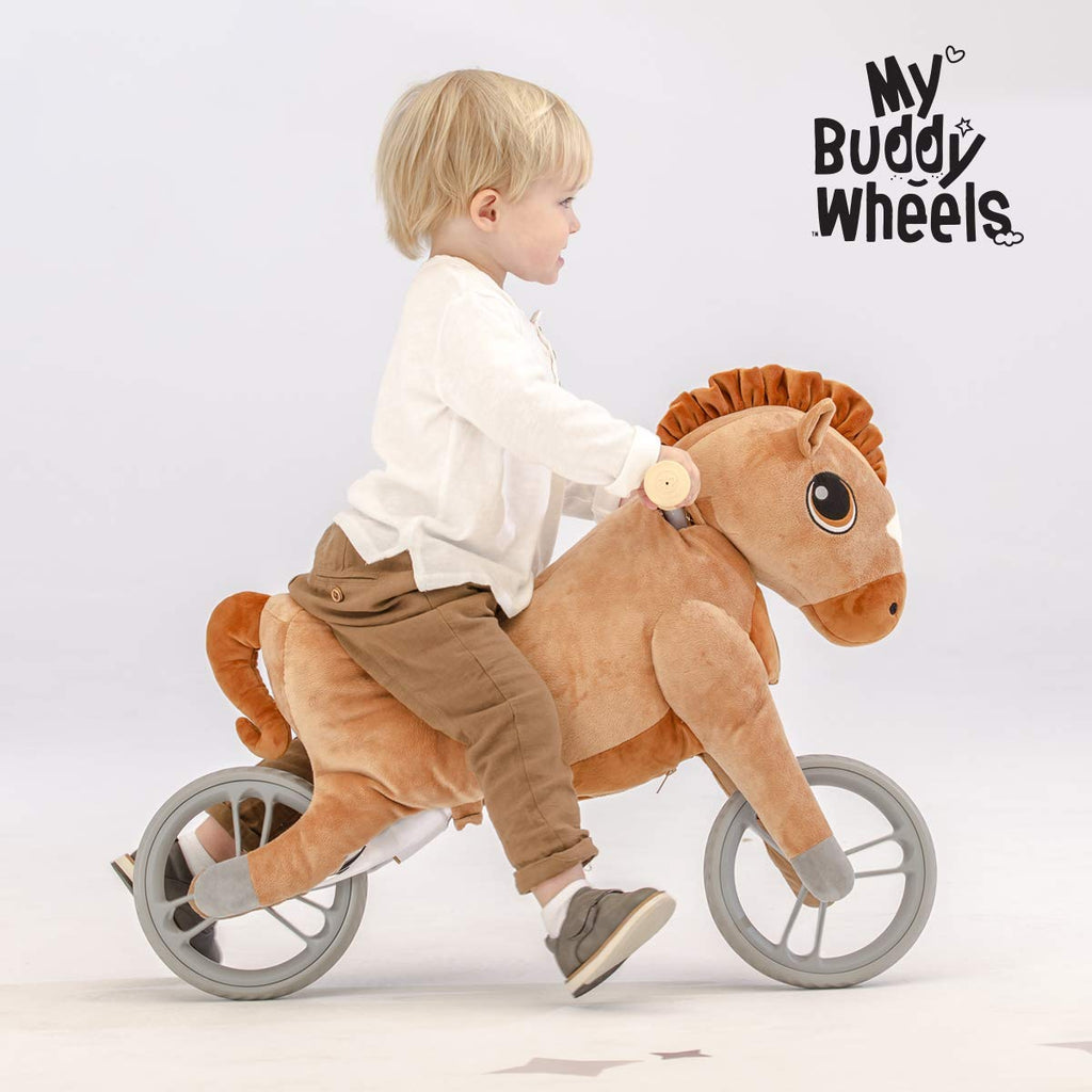 Yvolution My Buddy Wheels Dino Unicorn Horse Balance Bike with Plush Toy Training Bicycle for Toddlers Age 2 Years Dino