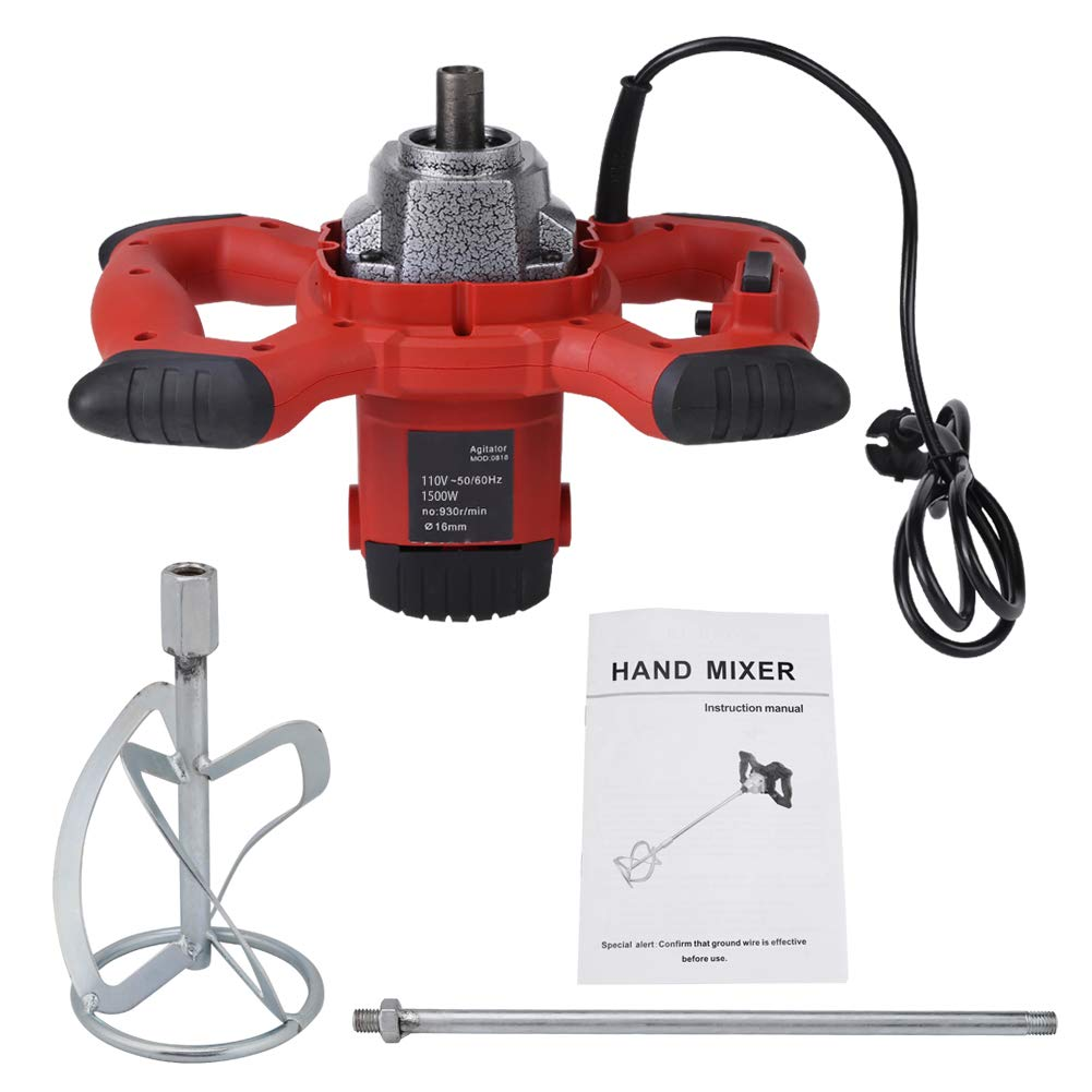1pc Red 1500W Handheld 6-speed Electric Mixer for Stirring Mortar Paint Cement Grout AC 110V, Adjustable Speed for Thinset Grout and Mortar