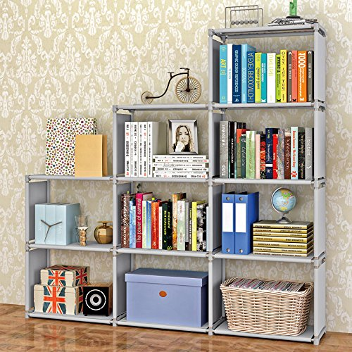 Jaketen Bookshelf 9-Cubes Book Shelf Office Storage Shelf Plastic Storage Cabinet (Grey)