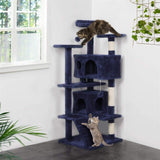 "Yaheetech 51"" Cat Tree Tower Condo Furniture Scratch Post for Kittens Pet House Play Navy Blue"