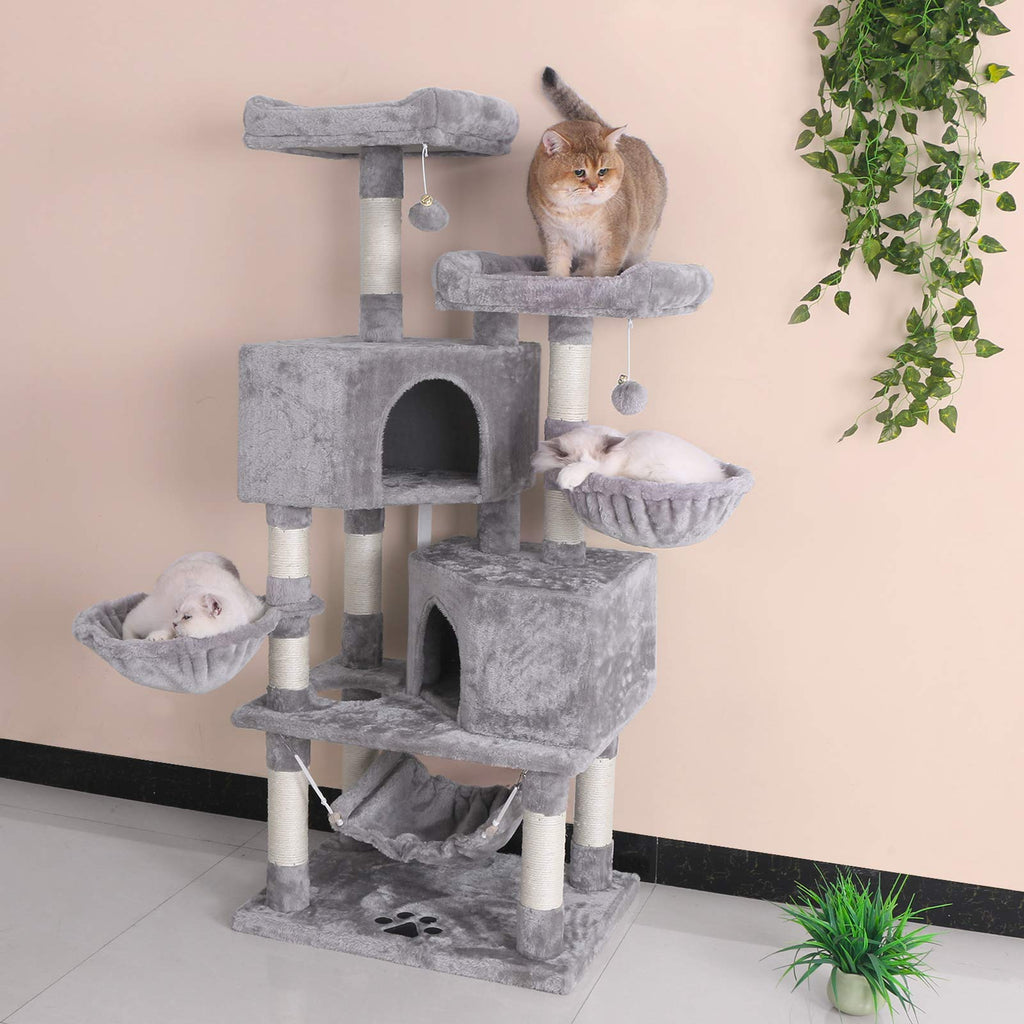 BEWISHOME Multi-Level Cat Tree Condo with Sisal Scratching Posts, Perches, Houses, Hammock and Baskets, Cat Tower Furniture Kitty Activity Center Kitten Play House Light Grey MMJ05G