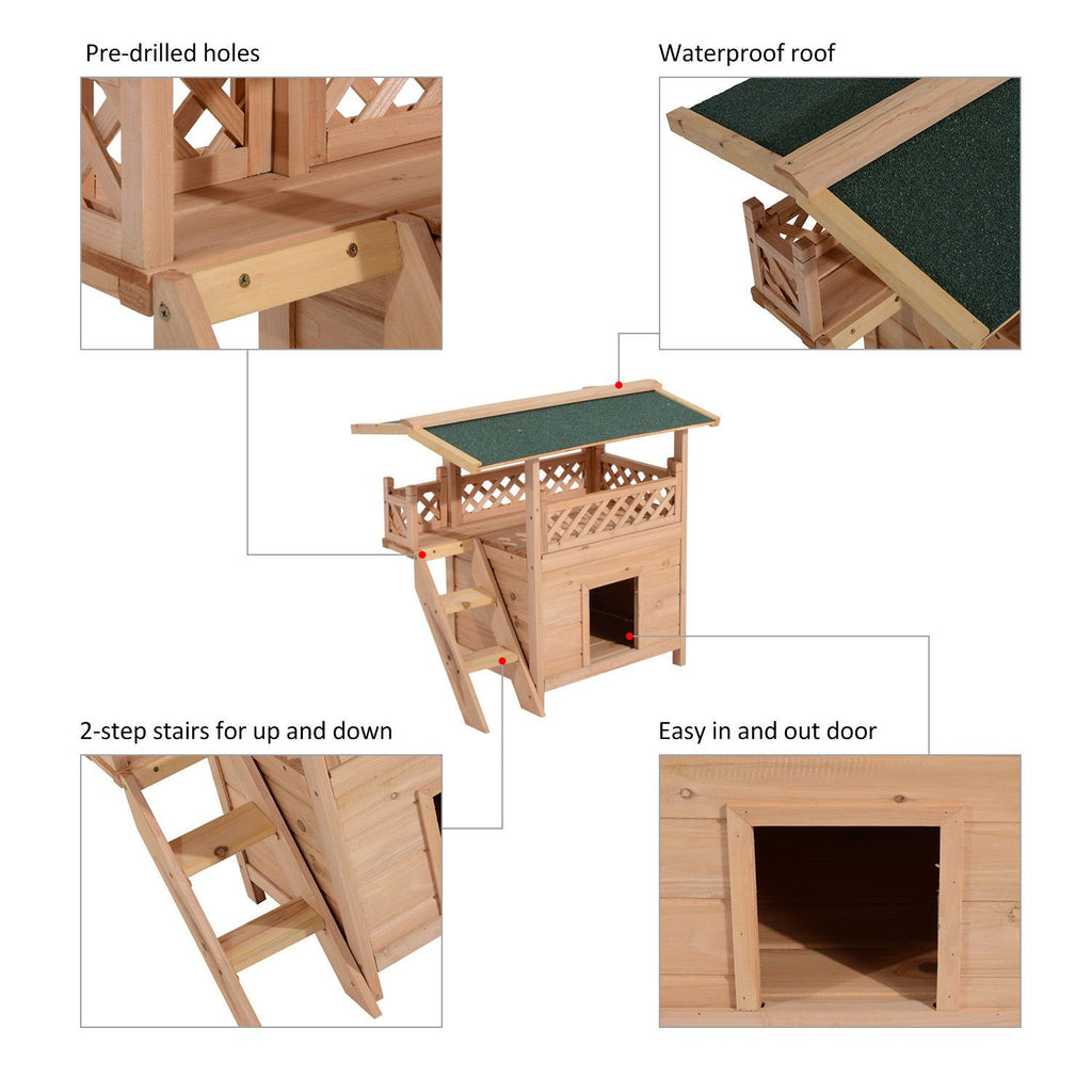 PawHut 2-Story Indoor/Outdoor Wood Cat House Shelter with Roof