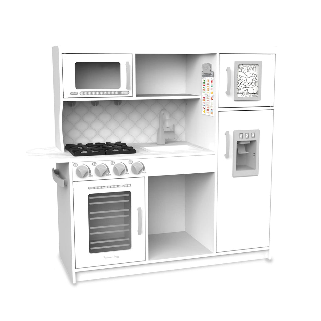 Melissa Doug Wooden Chef S Pretend Play Toy Kitchen With Ice Cube Dispenser Cloud White