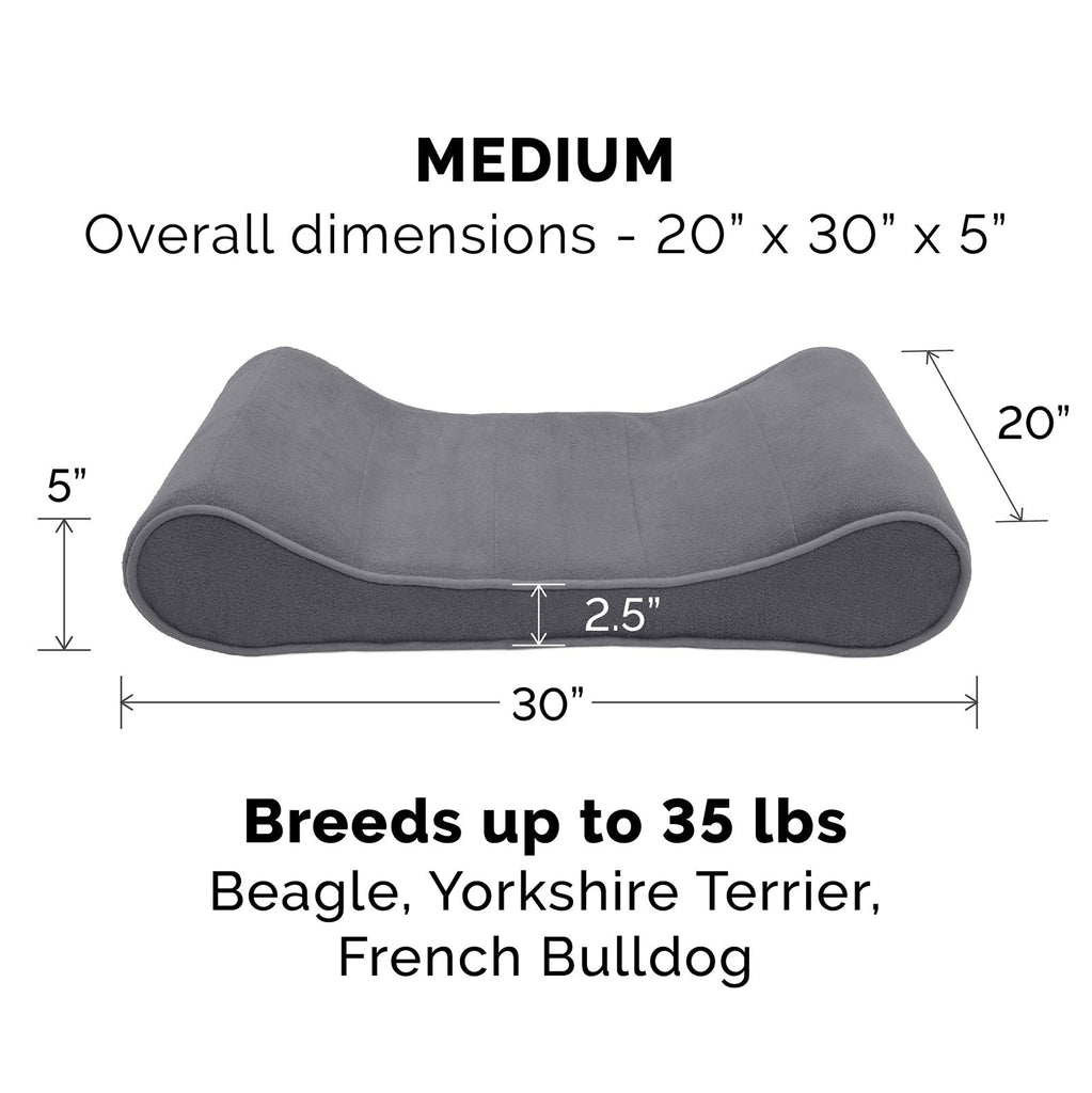 FurHaven Pet Dog Bed | Orthopedic Microvelvet Luxe Lounger Pet Bed for Dogs & Cats, Gray, Medium