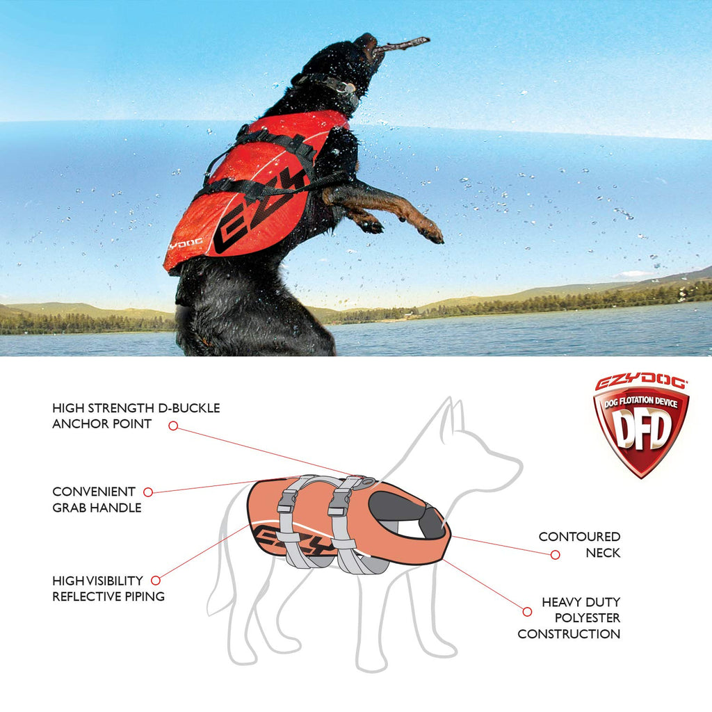 EzyDog Premium Doggy Flotation Device (DFD) - Adjustable Dog Life Jacket Preserver with Reflective Trim - Durable Grab Handle for Safety and Protection - 50% More Flotation Material (X-Large, Red)