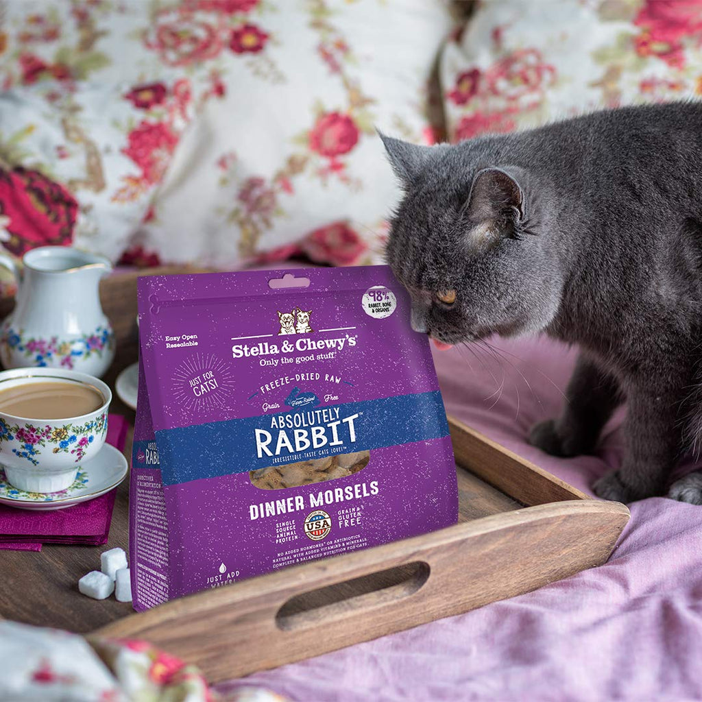 Stella & Chewy's Freeze-Dried Raw Absolutely Rabbit Dinner Morsels Grain-Free Cat Food, 9 oz bag