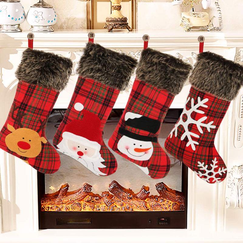 Christmas Stocking 18 Red Glittery Snowflakes Plush Faux Fur Cuff Felt Xmas Decorations Cerebrate a Holiday Fireplace Decor Family Party Large Accessory w Hanging Tag 18 in Set of 3 Pack Gift Holder