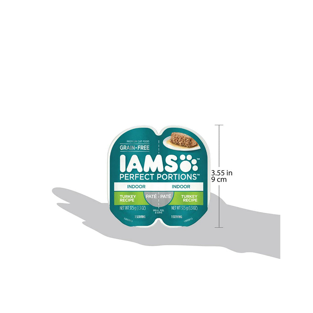 Iams Perfect Portions Grain Free Wet Cat Food Paté For Indoor Cats, Turkey Recipe, (24) 2.6 Oz. Twin-Pack Trays