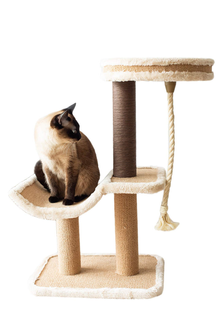 Catry, cat Tree Cradle Bed with Natural Sisal Scratching Posts and Teasing Rope for Kitten
