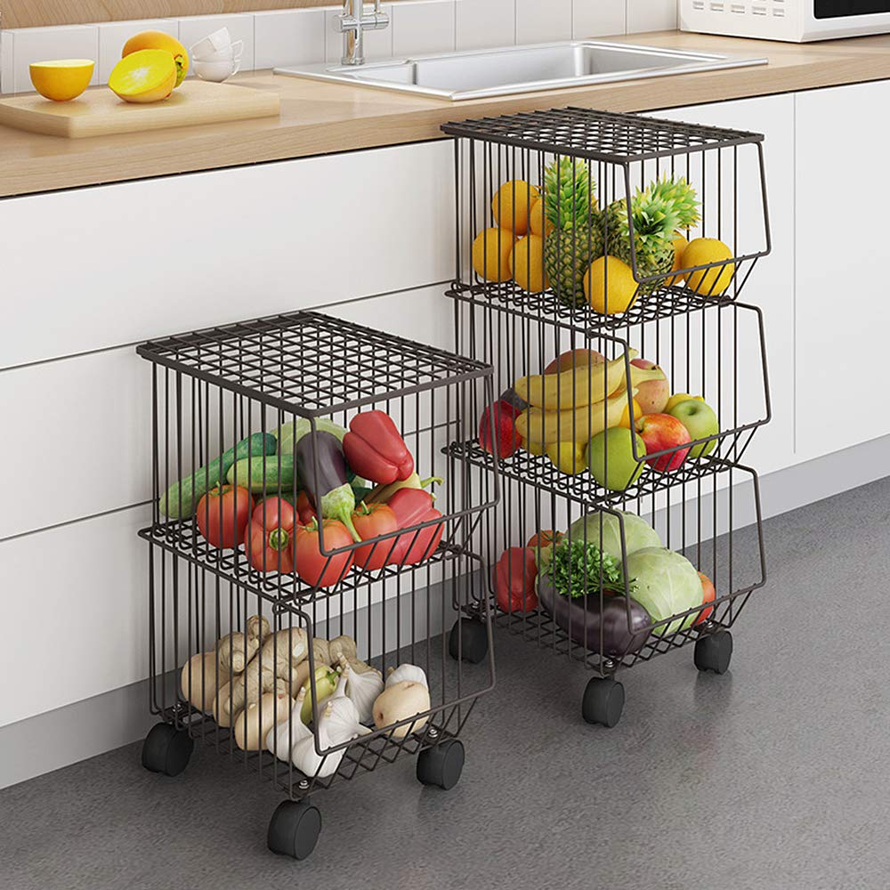 Whifea Metal Wire Basket With Wheels And Cover 5 Tier Stackable Rolli Wufair