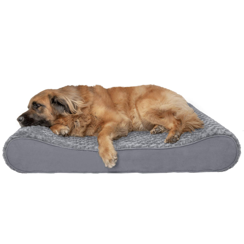 FurHaven Pet Dog Bed | Orthopedic Ultra Plush Luxe Lounger Pet Bed for Dogs & Cats, Gray, Jumbo Plus