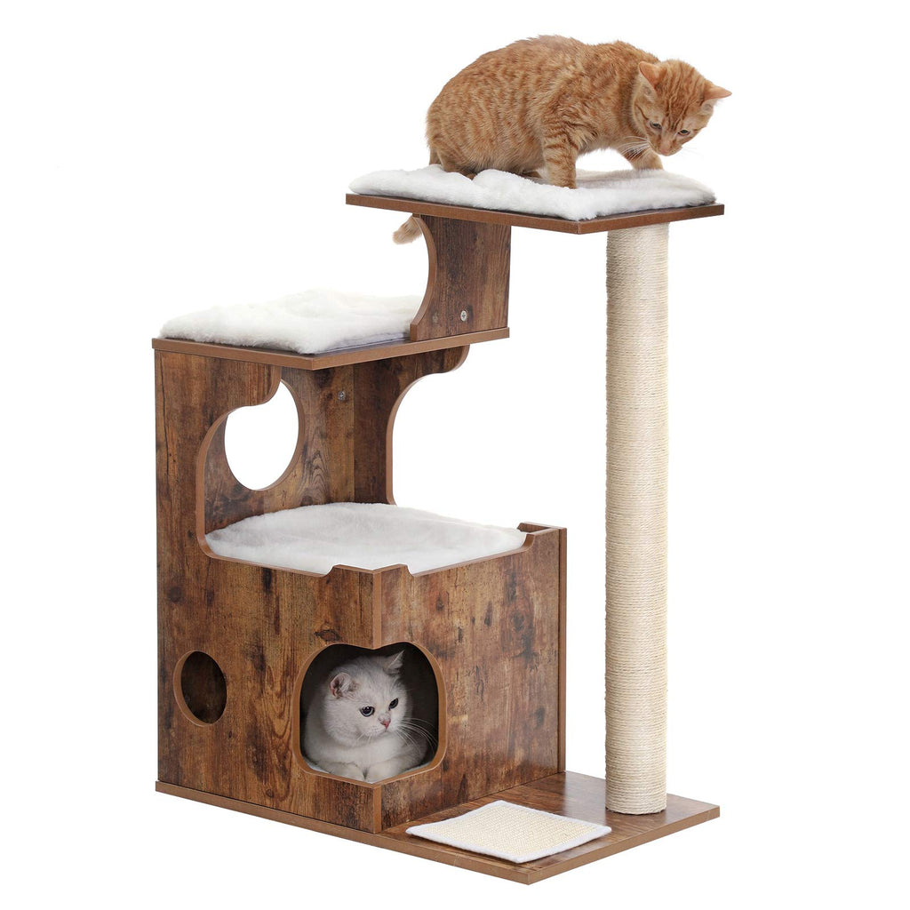 FEANDREA 34.6 inches Cat Tree, Medium Cat Tower with 3 Beds and House, Cat Condo, Sisal Post and Washable Faux Fur, Vintage, Rustic Brown and White UPCT70HW