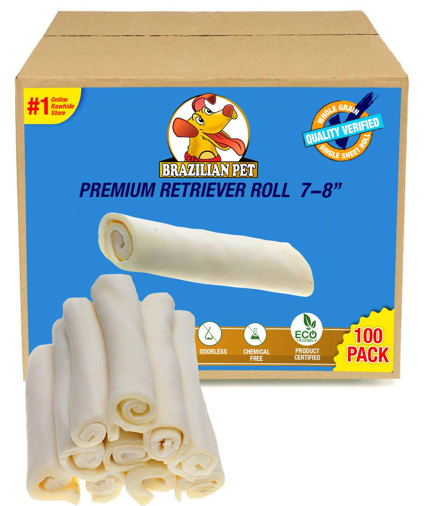 "Premium Retriever Rolls 7-8"" - 100 Pack -(100% Natural - USDA/FDA Approved) Last Much Longer Than Traditional Rolls. The Best Behavioral Dog Chewing Solution Treat. No Artificial preservatives."