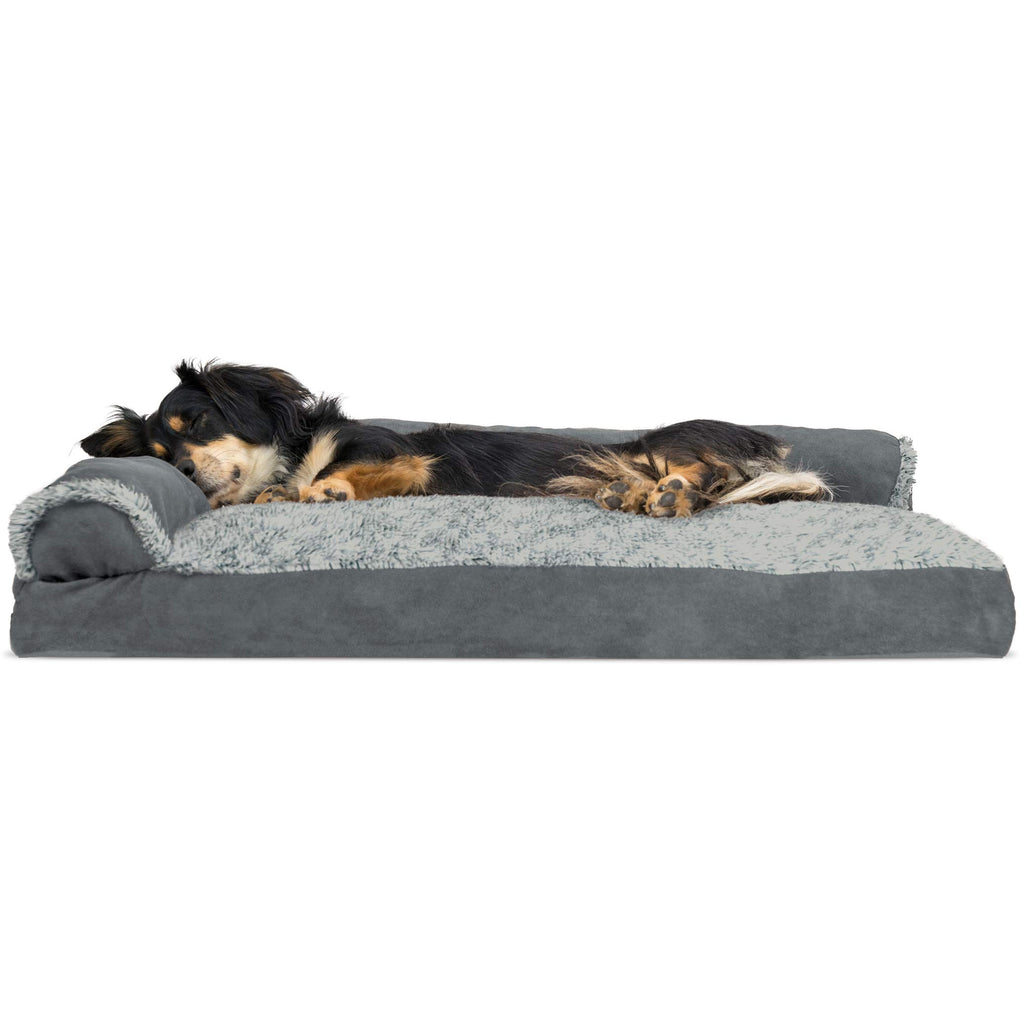 FurHaven Pet Dog Bed | Faux Fur & Suede L-Shaped Chaise Lounge Pillow Sofa-Style Pet Bed for Dogs & Cats, Stone Gray, Medium